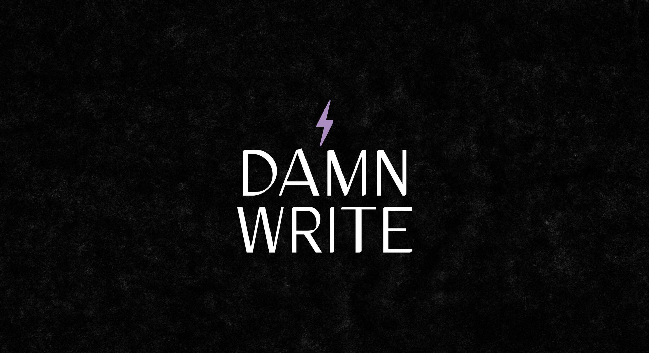 Minimal clean logotype for Damn Write with small lightening bolt icon