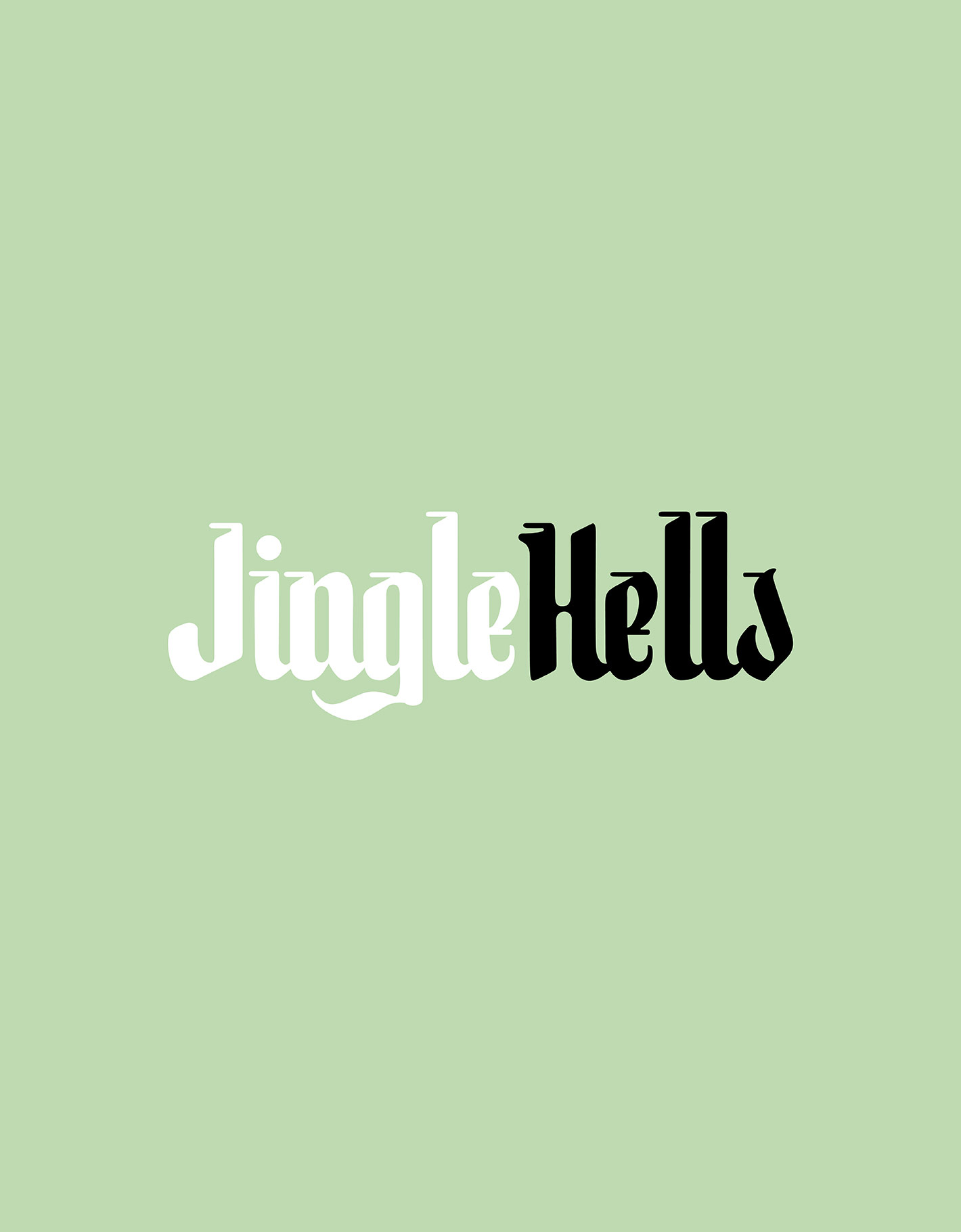 Mint green background with blackletter inspired logotype for Jingle Hells brand