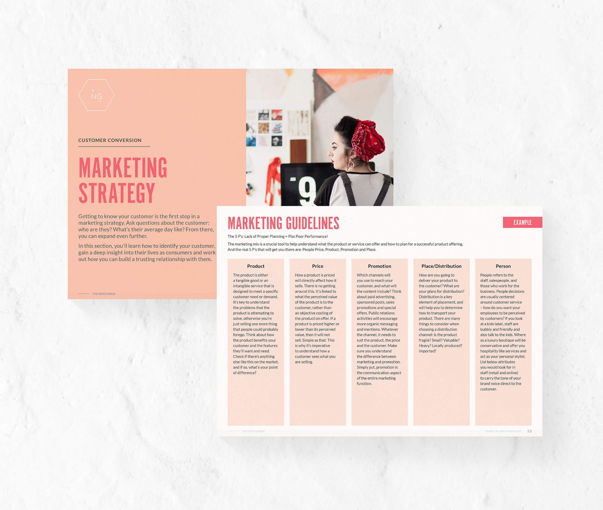 two pages from The New Garde ebook regarding marketing for fashion labels