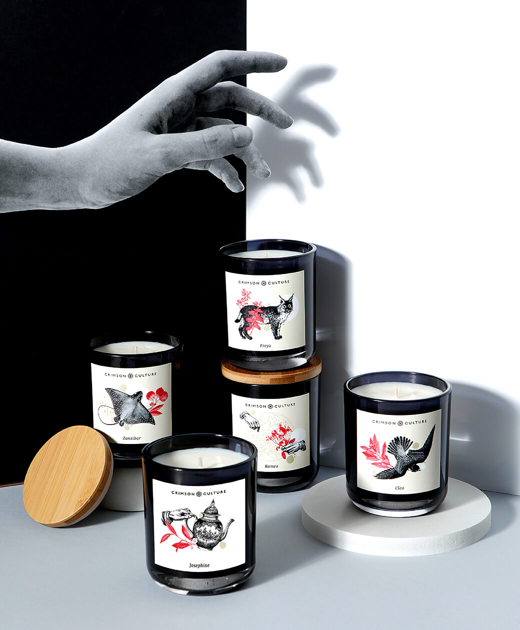 Art directed campaign image showing candle range with new labelling and collaged paper hand interacting with scene