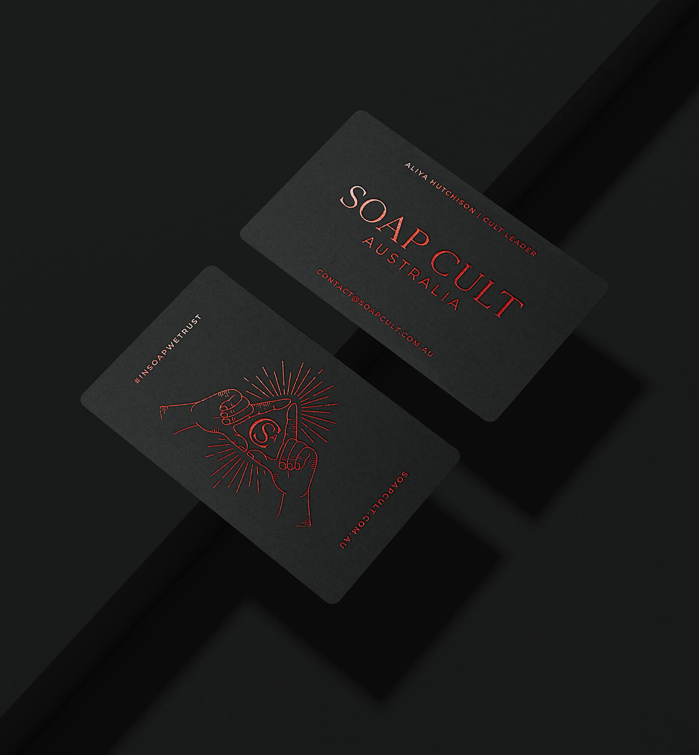 soap cult australia client business cards of black card and red foil