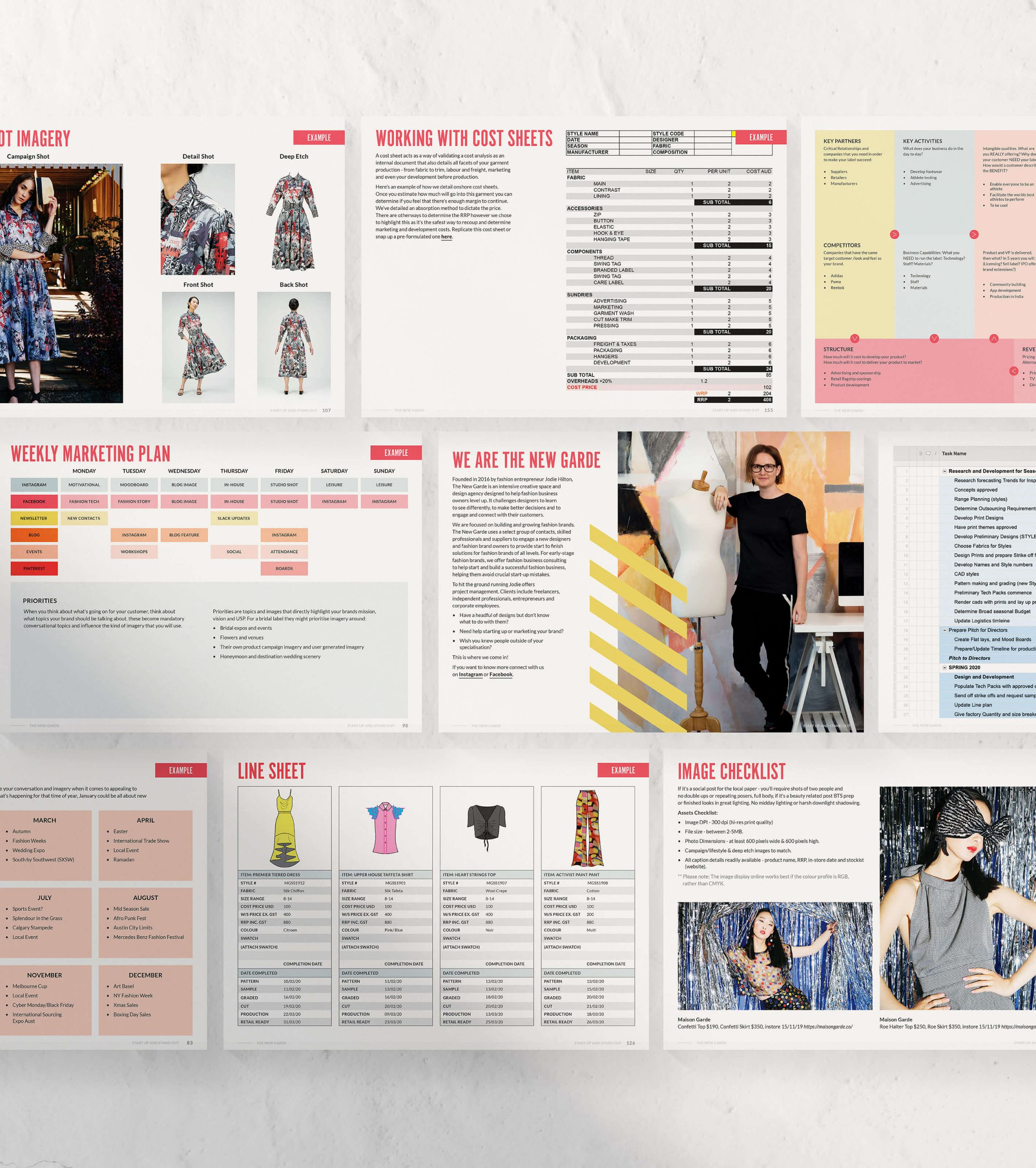 range of pages showing various layouts for fashion start up ebook