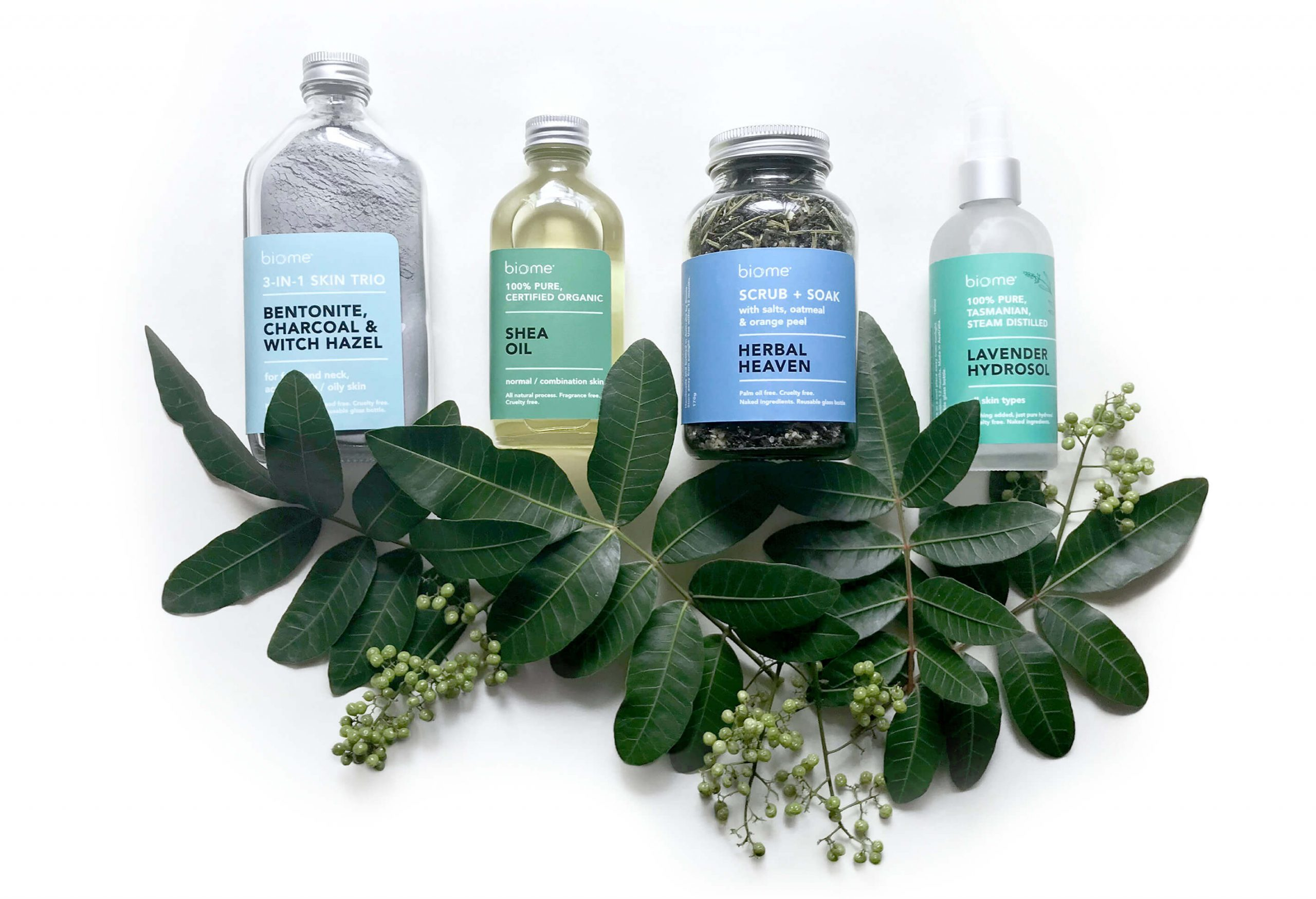 clean beauty skincare packaging with minimal design and cool colour palette