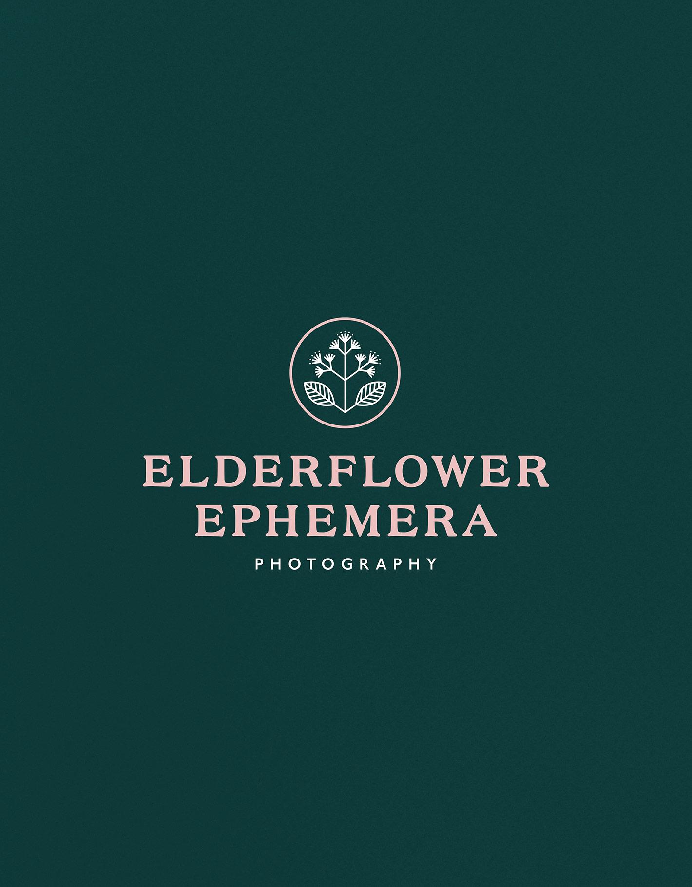 Floral icon and serif logotype for elderflower ephemera