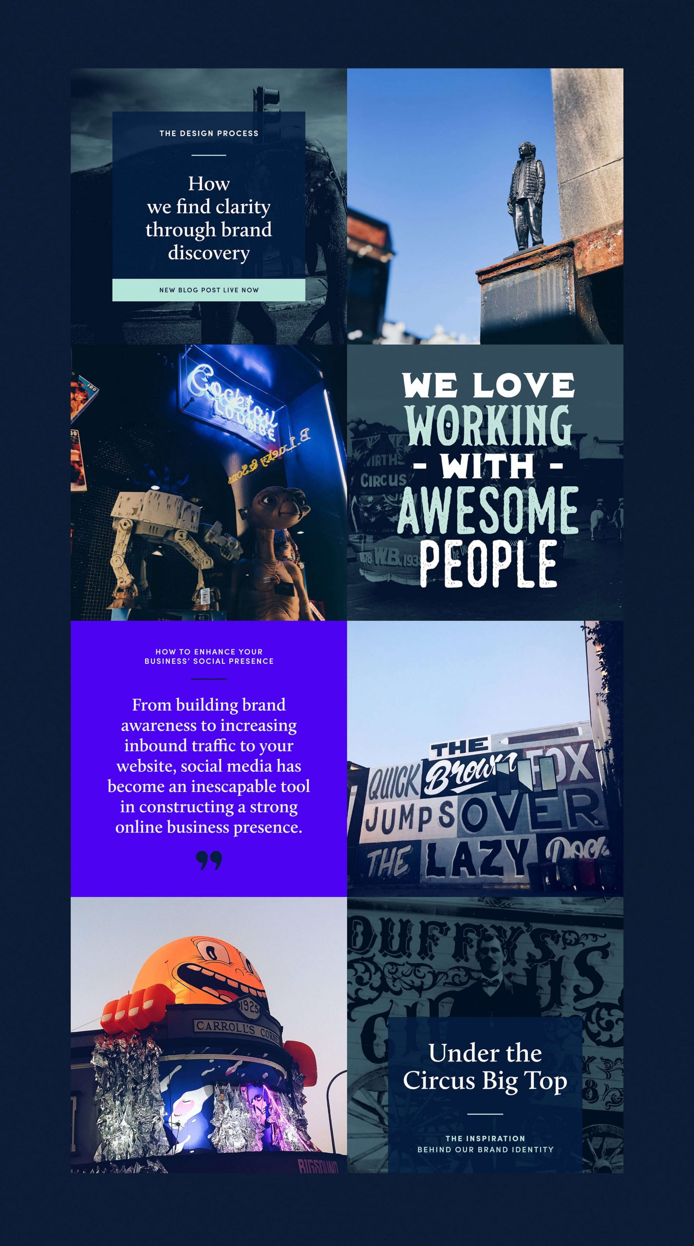 strong digital overview featuring photography of brisbane and custom designed graphics