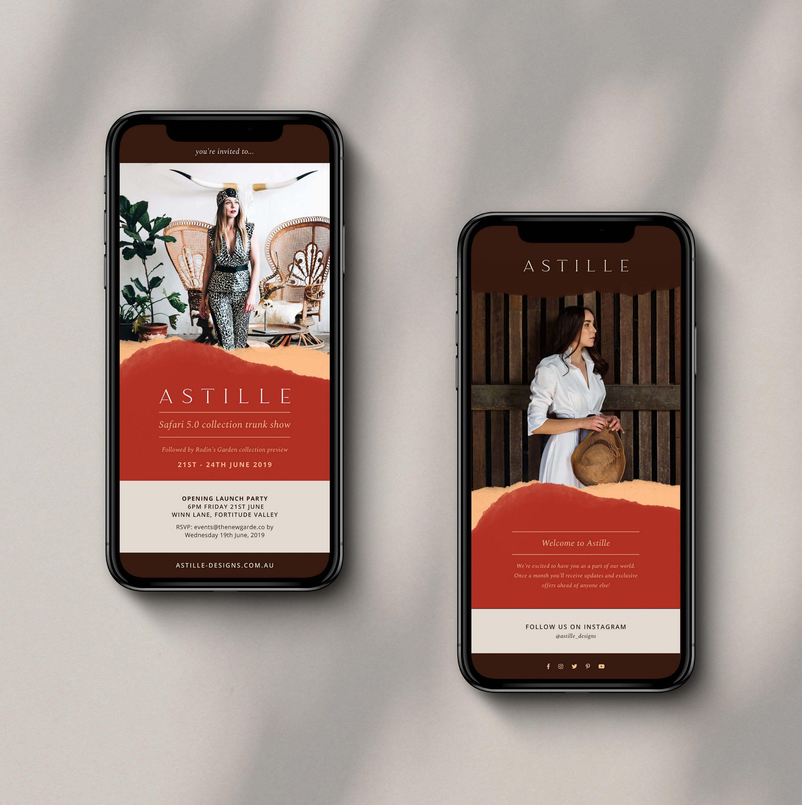Mobile phones showing newly designed Astille EDM newsletter layouts