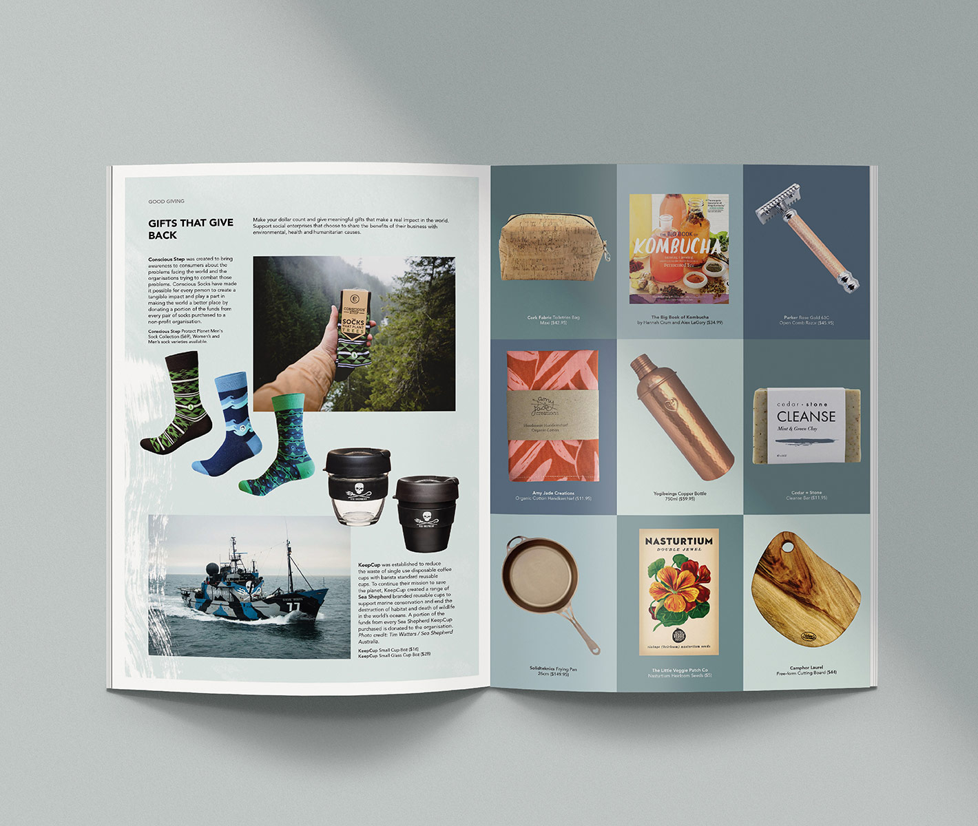 ethical retailer magazine editorial layout design