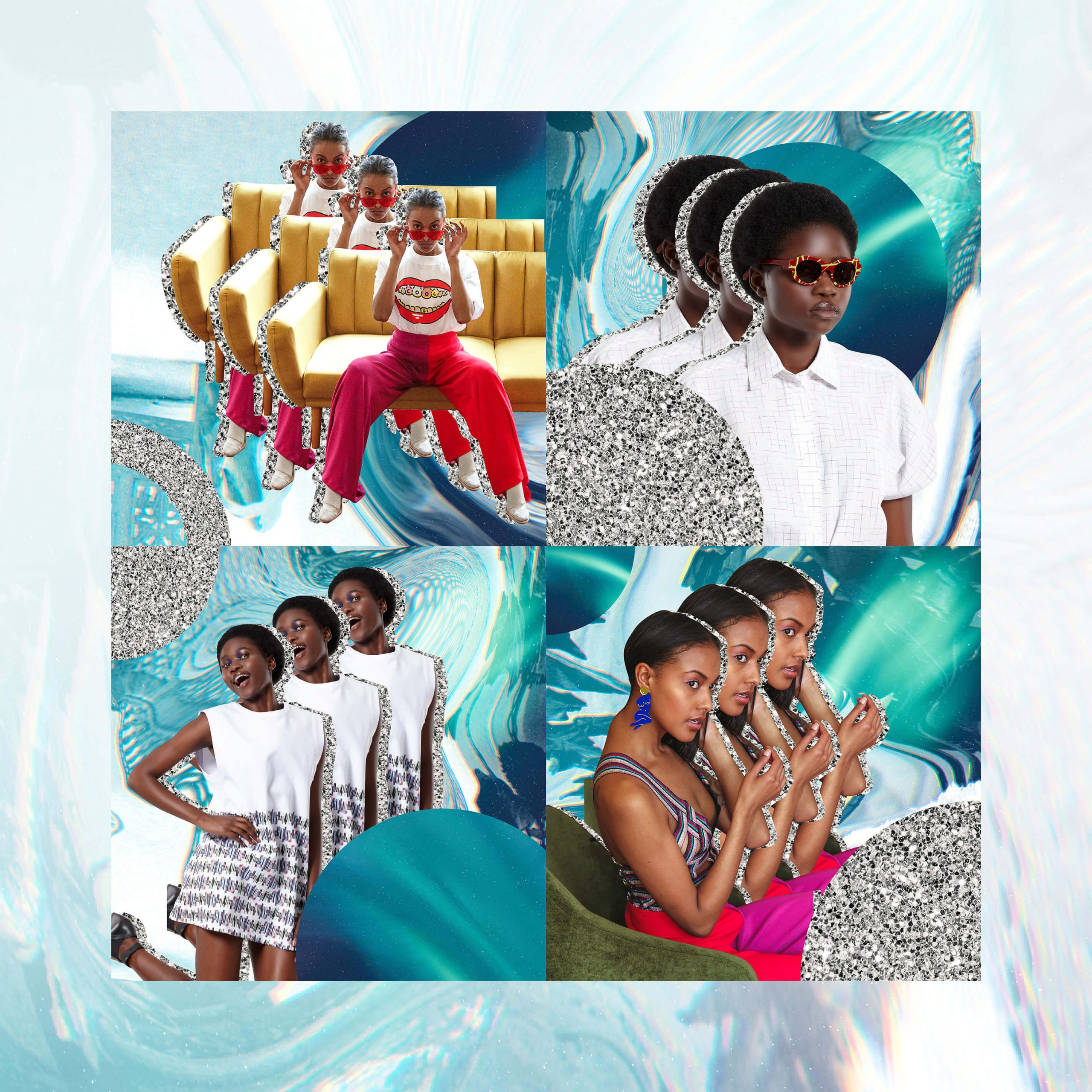 grid of social media collage imagery created for uncommon store for festival season