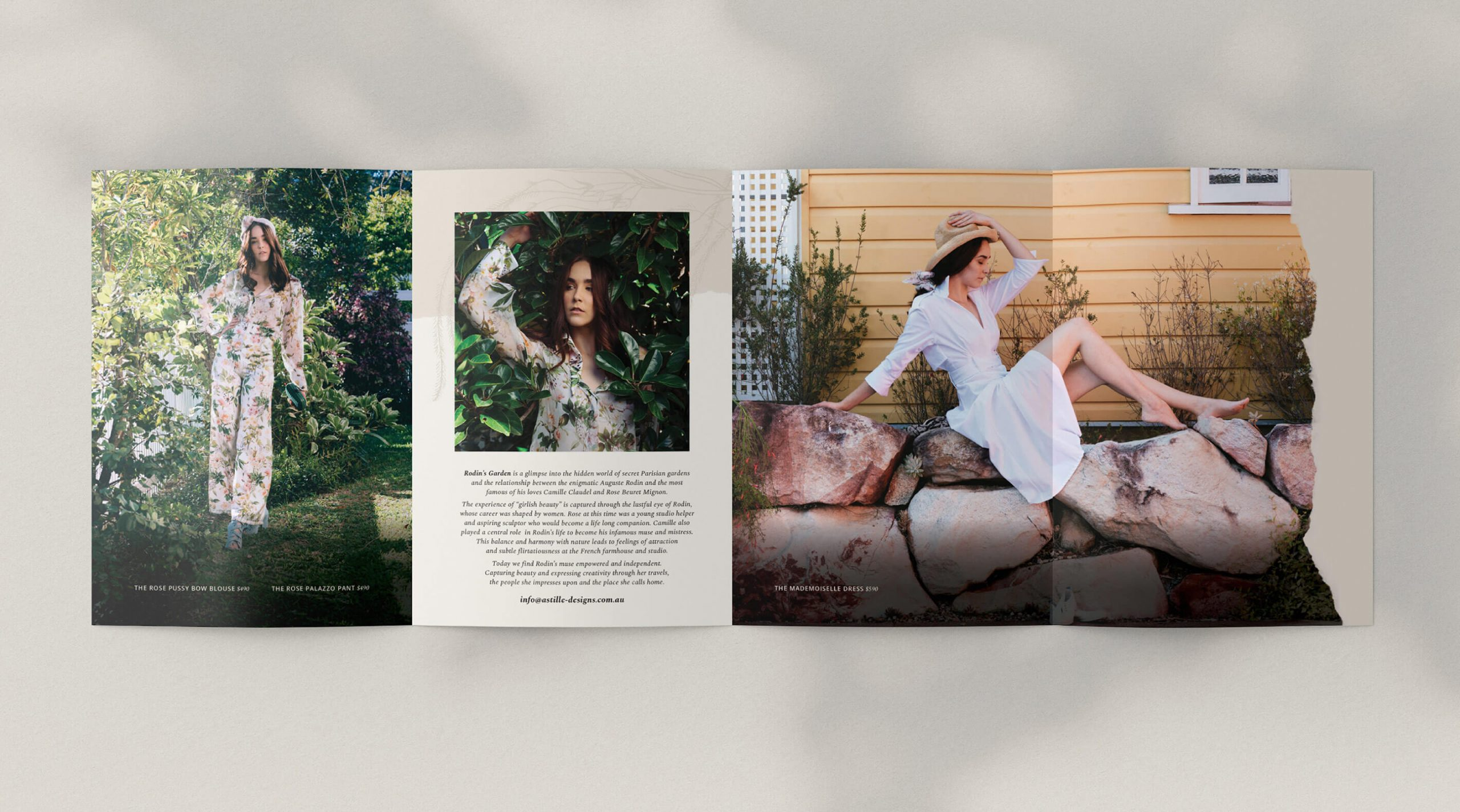 concertina lookbook design for french inspired fashion collection