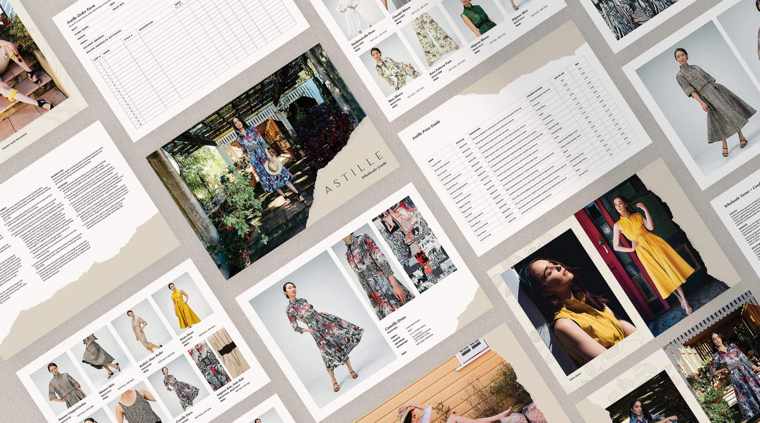 Multiple pages from Astille high end wholesale kit showing order forms, lookbook layouts and product details