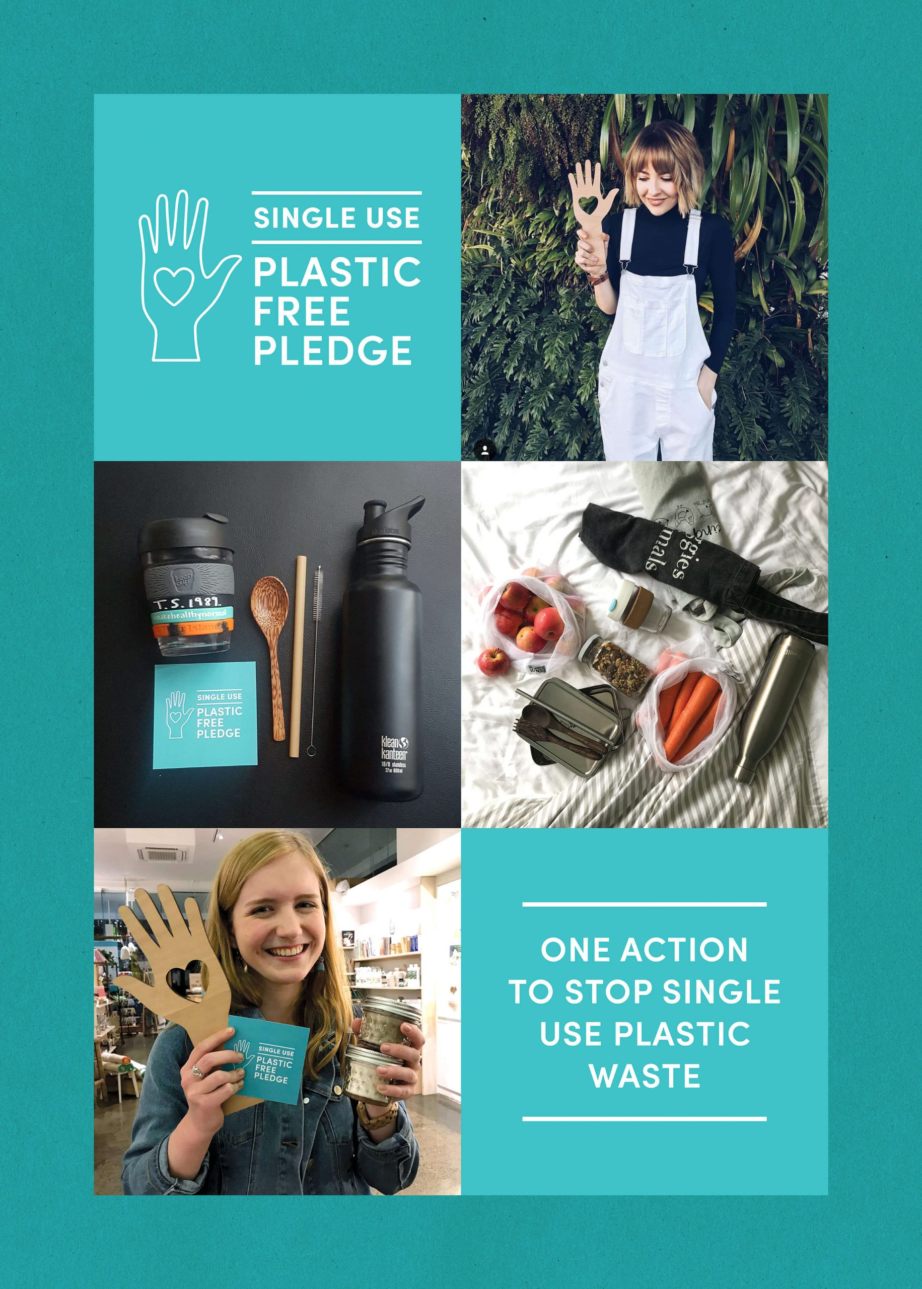 plastic free july social media response showing user generate photographs, flatlays and campaign graphics