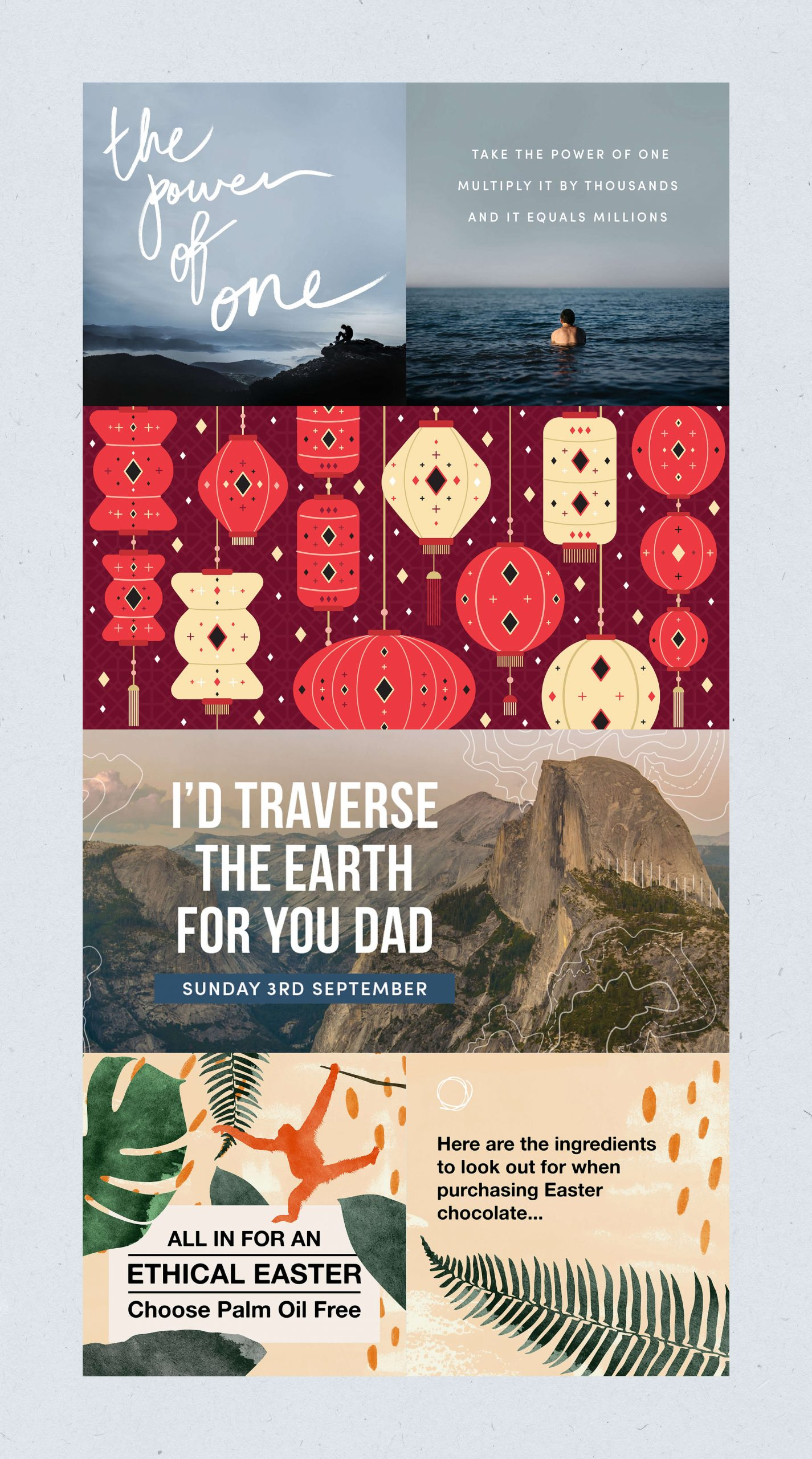 selection of biome artwork for various social media campaigns such as #thepowerofone, lunar new year, fathers day and palm oil free easter