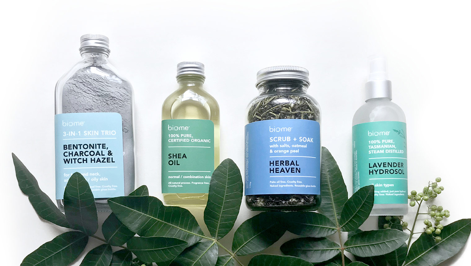 Packaging for 4 clean beauty products by biome eco stores