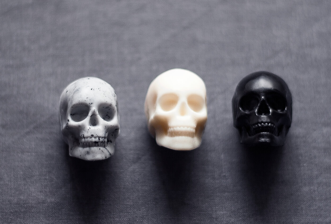 Image of three handmade, skull-shaped soaps for a gothic christmas