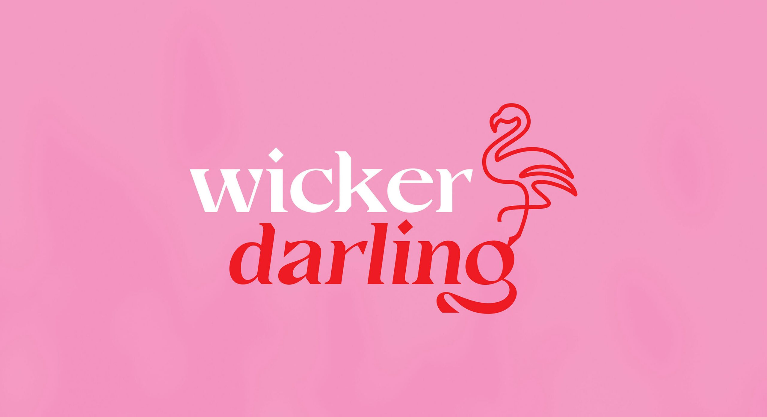 Pink background with red and white Wicker Darling logo. It has decorative curves and a falmingo shaped icon