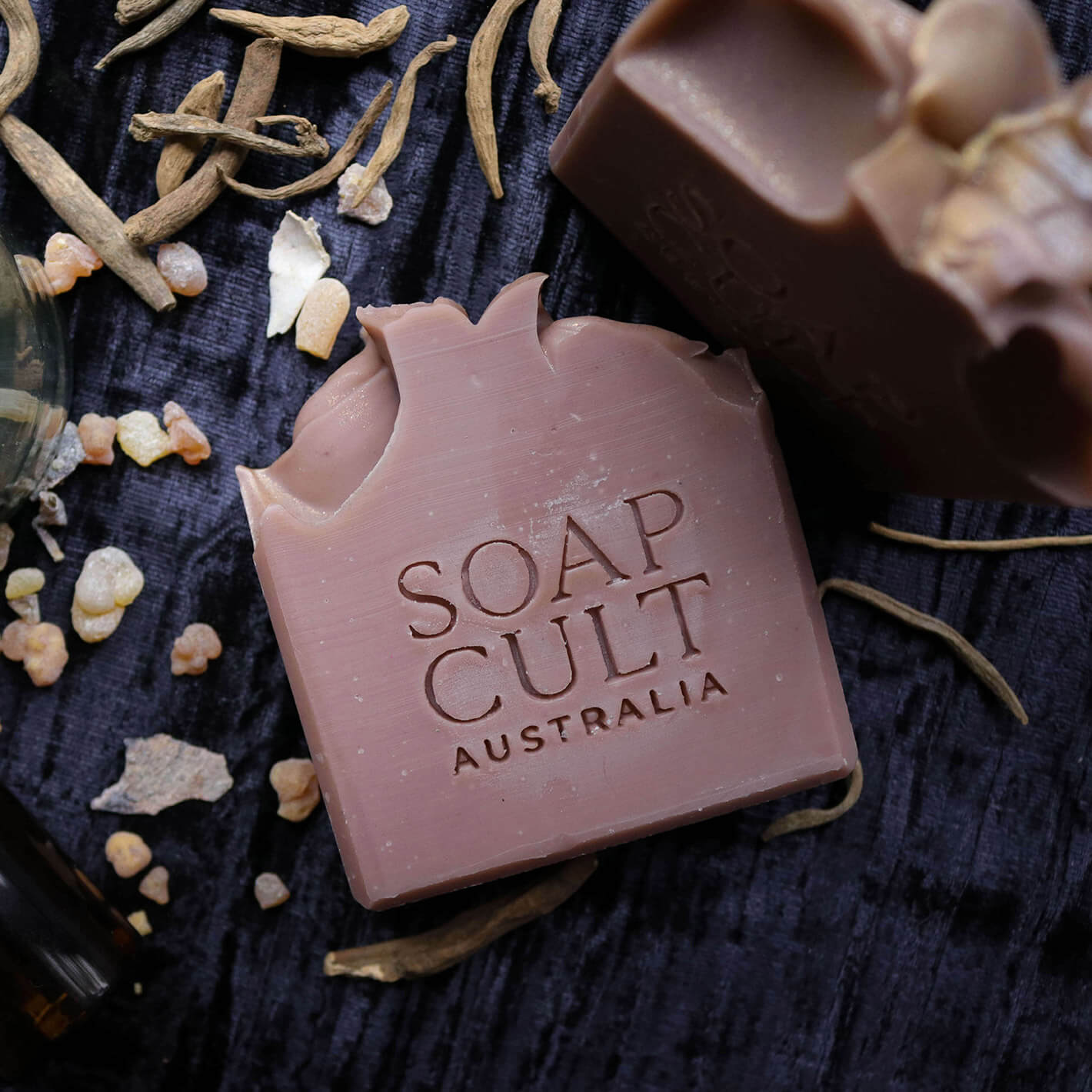 Image os Soap Cult Australia soap with brand logo stamped into side.