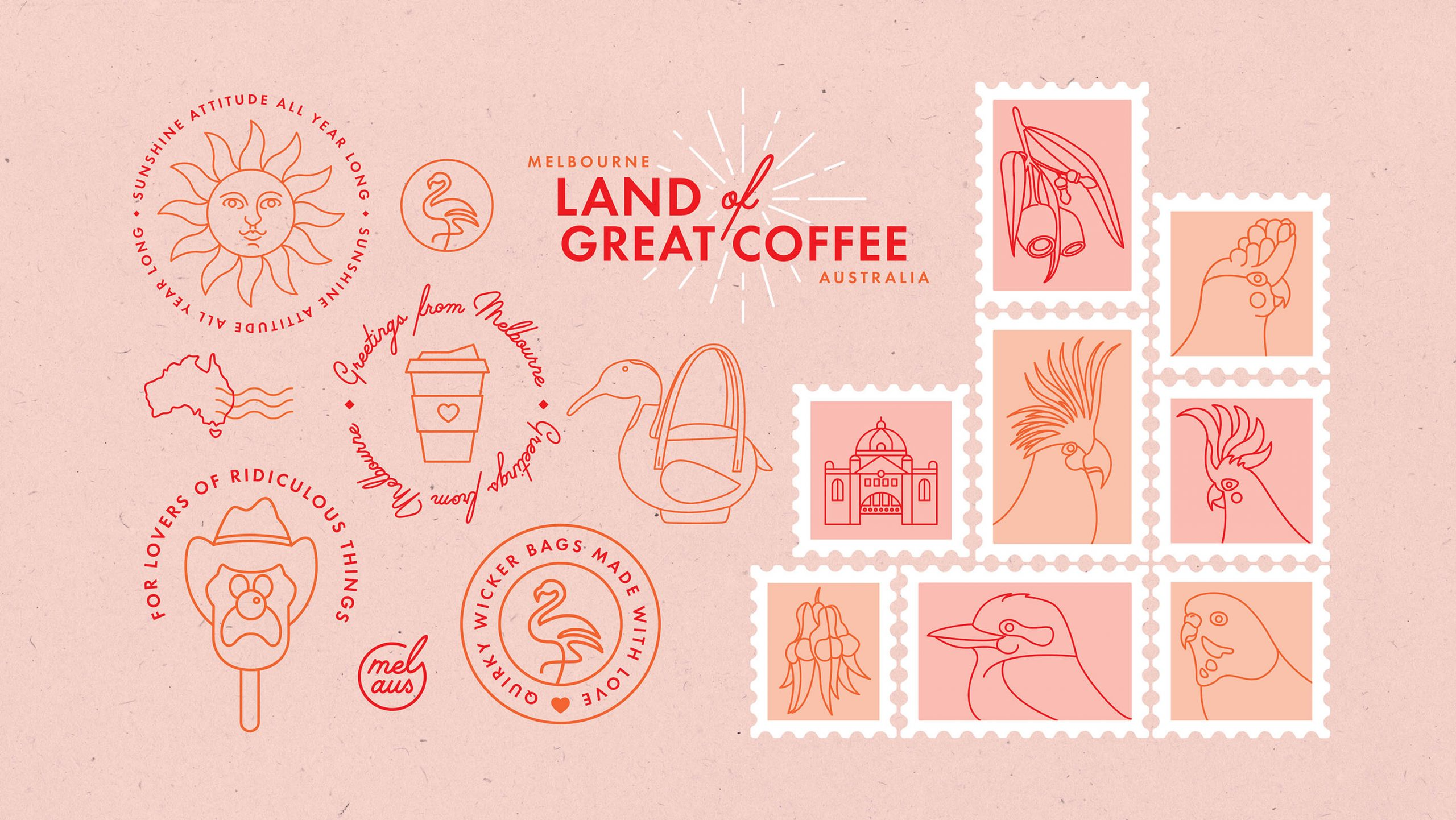 Pink bakcground has range of Wicker Darling illustrations in red and orange tone. there are postage stamps, icons with Melbourne Australia references and Australiana iconography.