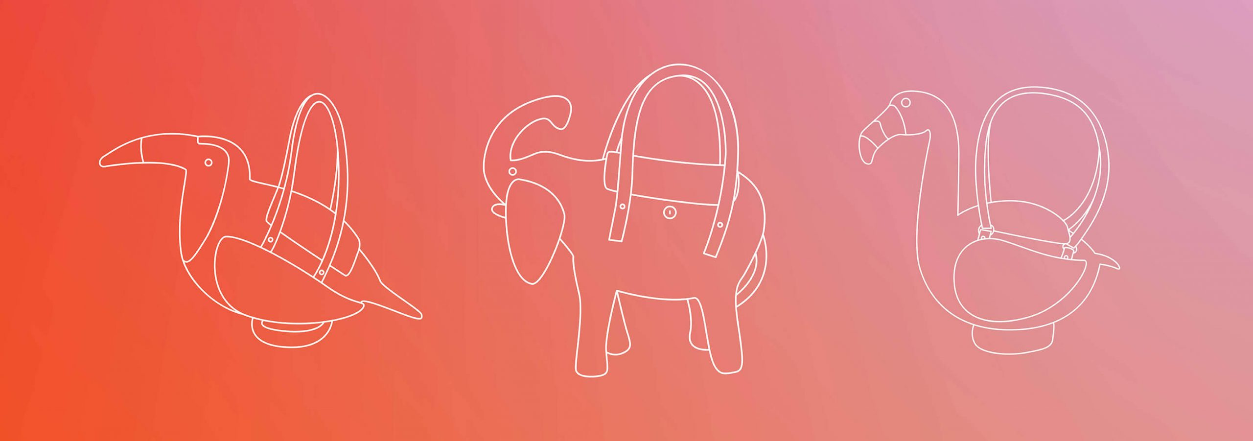 Tropical gradient background with line drawings of the toucan, elephant and flamingo shaped handbags.