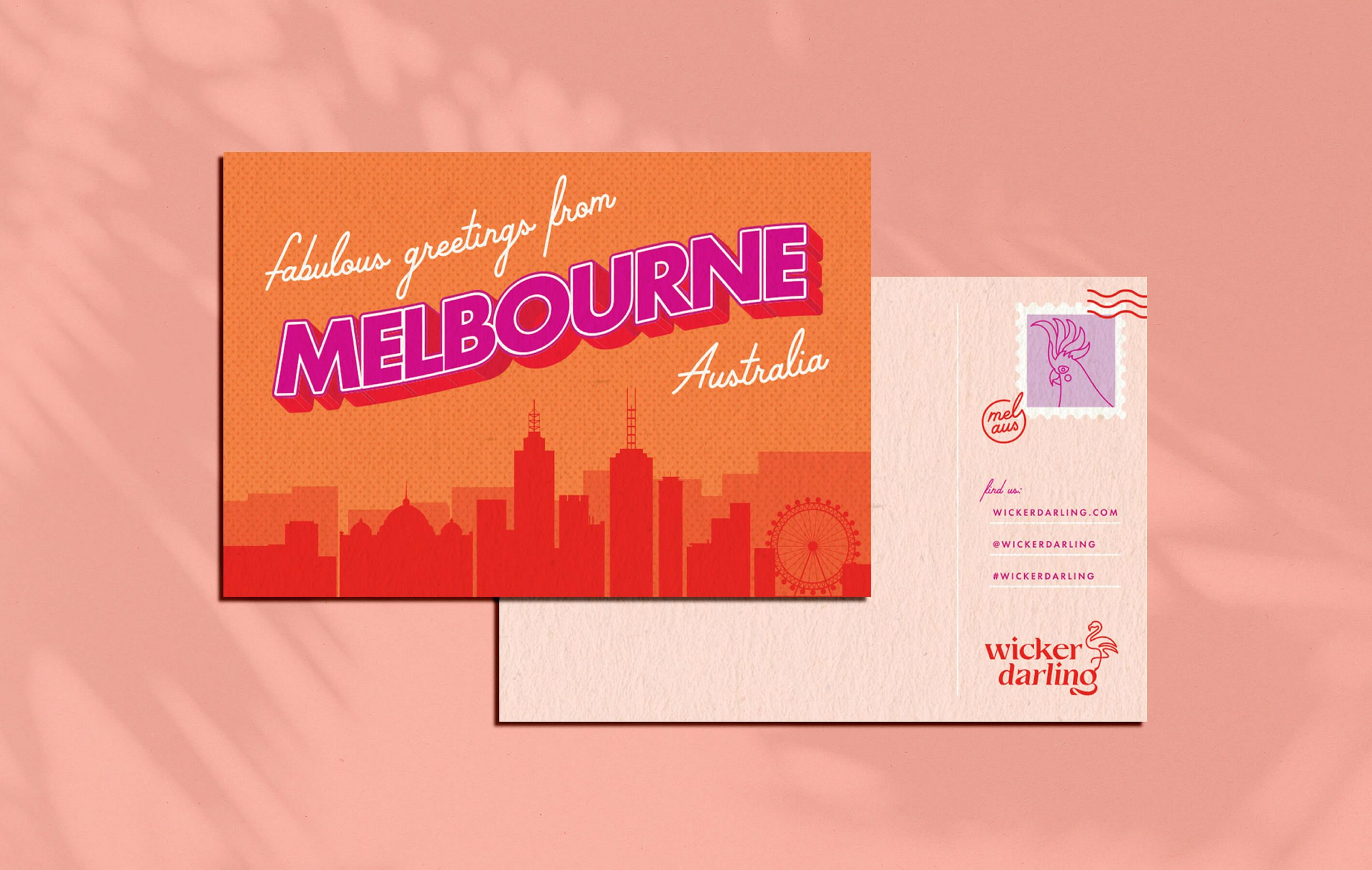 Vintage style postcode of Melbourne Australia. The back is a Wicker Darling thank you card for custom packaging.