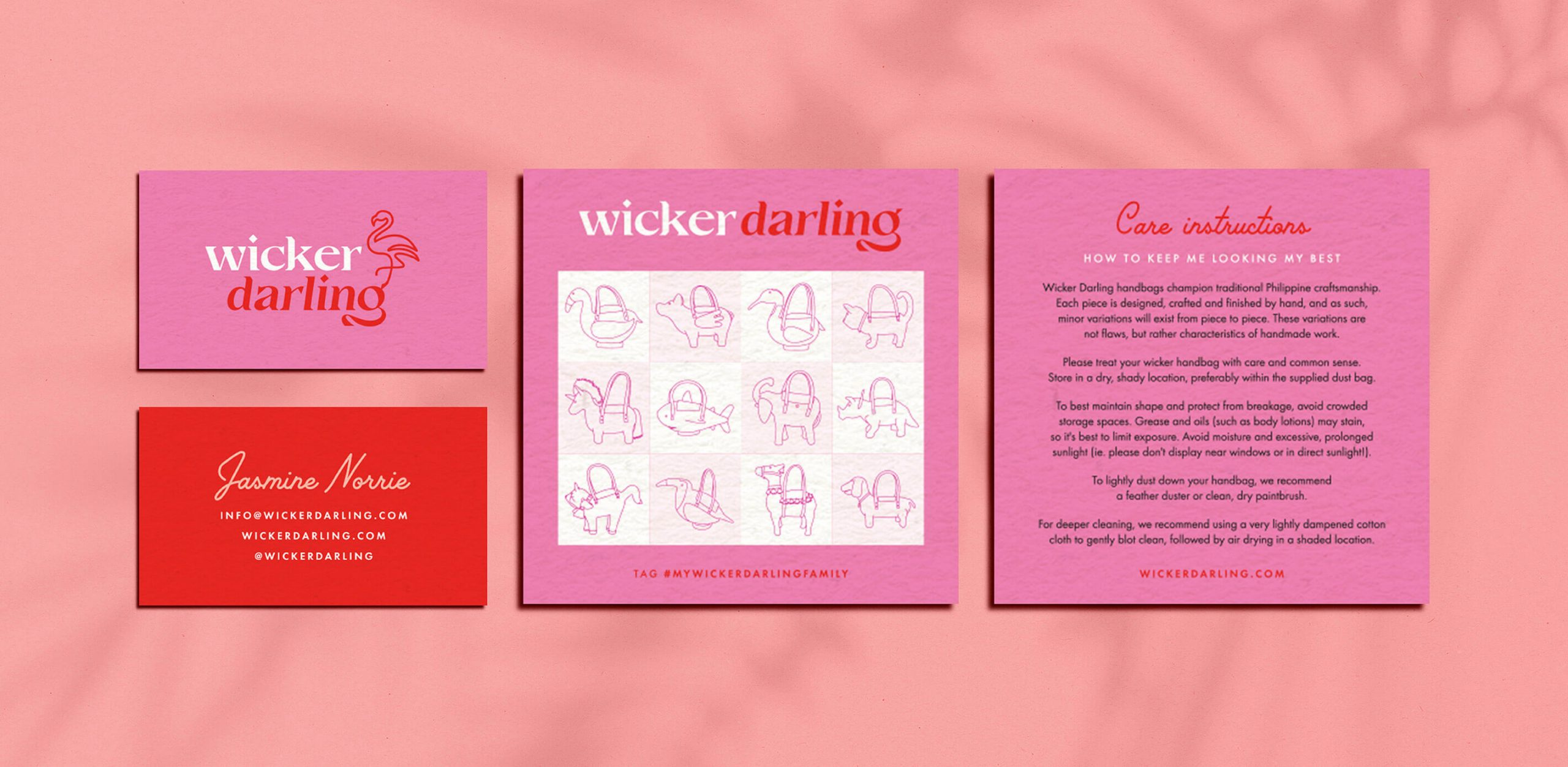 Wicker darling print collateral. There is a branded business card and a card with care instructions that has a side in teh style of a vintage bingo grid.
