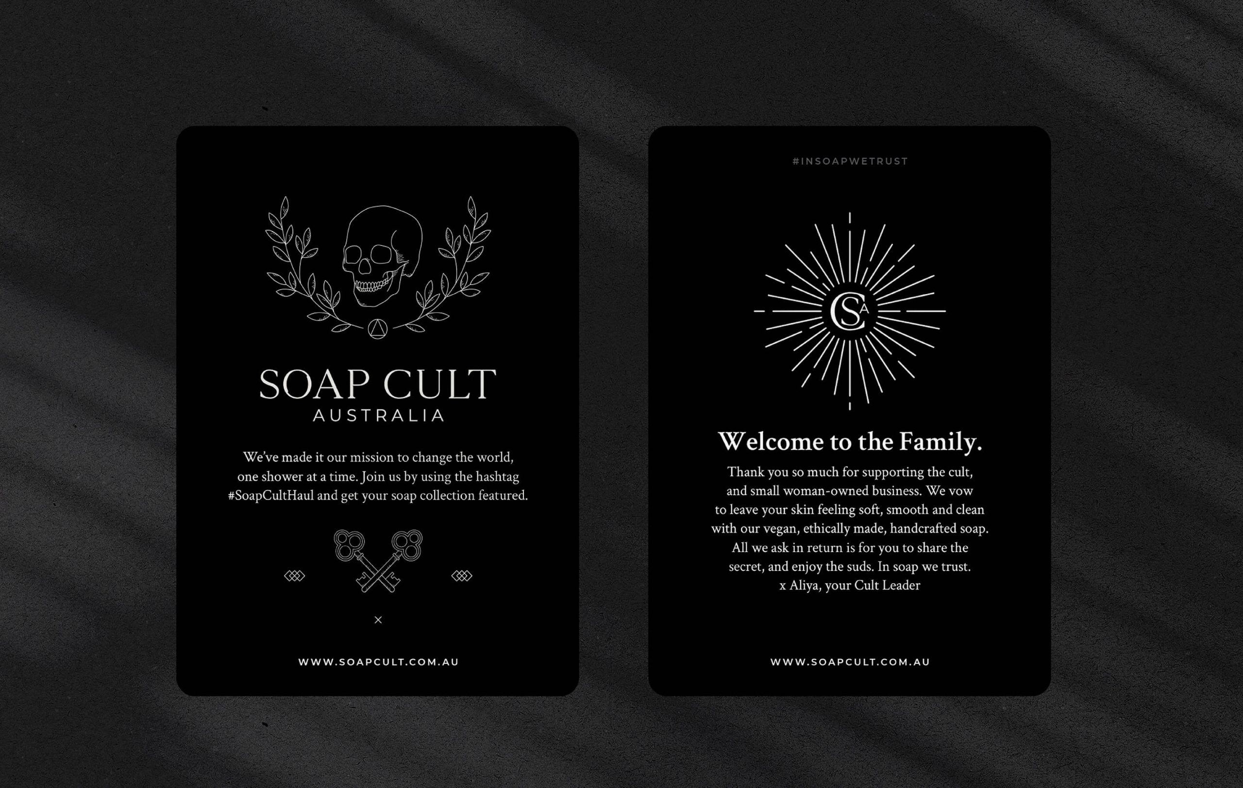 Image of Soap Cult Australia thank you tarot style cards