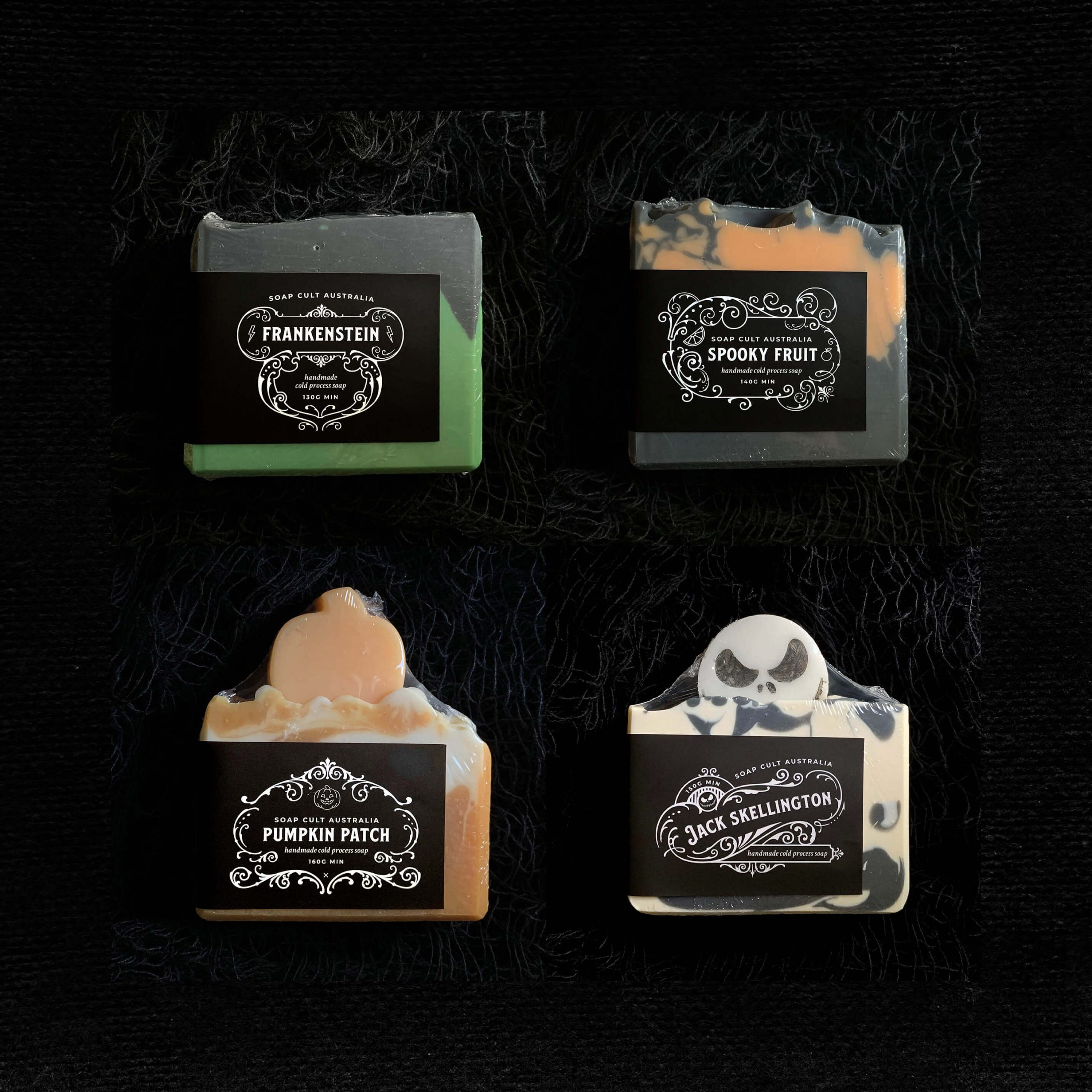 Four Soap Cult Australia soaps showing custom brand labels