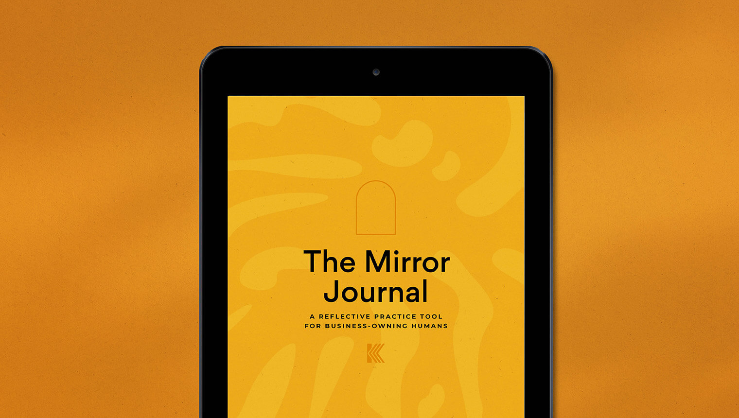 View of ipad with front cover of The Mirror Journal by Kirsty Fanton. The cover is bright yellow with a subtle leaf element