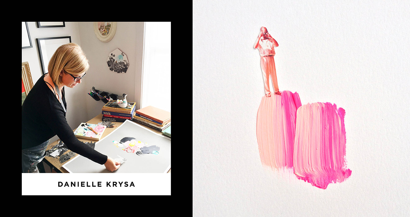 Image of Danielle creating her collage artwork with a pink example of her collage
