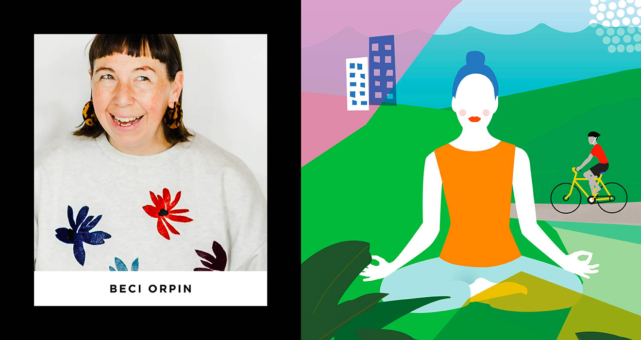 Image of Beci in a flower sweater alongside her bright, bold illustration style of a woman doing yoga