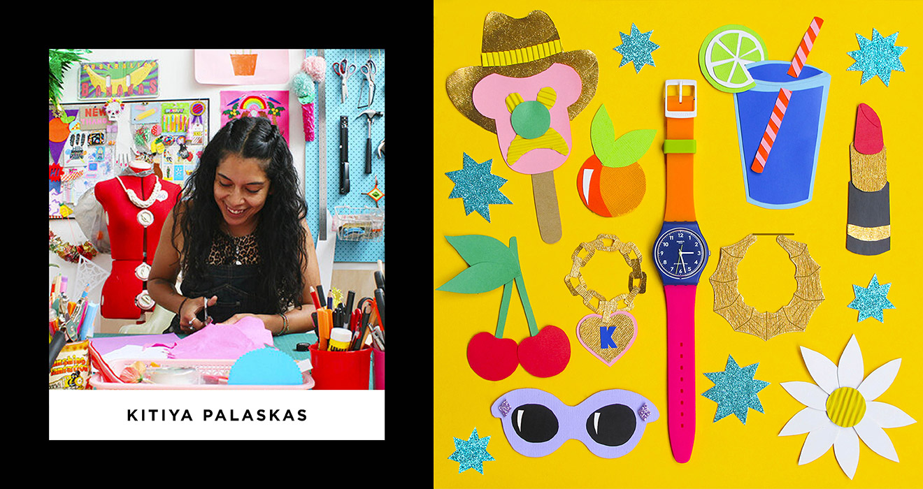 Image of Kitiya in her colourful studio alongside a felt craft piece of fun shapes and a swatch watch